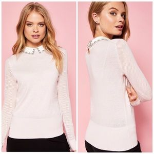NWT Ted Baker Pink Embellished Collar Sweater